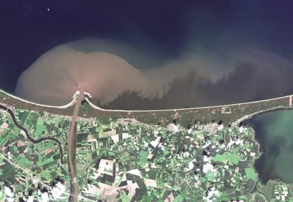 Tak wygląda wlew wód Wisły do Zatoki Gdańskiej. Zmętnienie wody nie oznacza automatycznie, że jest ona zanieczyszczona. W normalnych warunkach Wisła niesie także piasek i muł a po każdym większym deszczu zmętnienie jest nieco silniejsze. (fot. UMG)