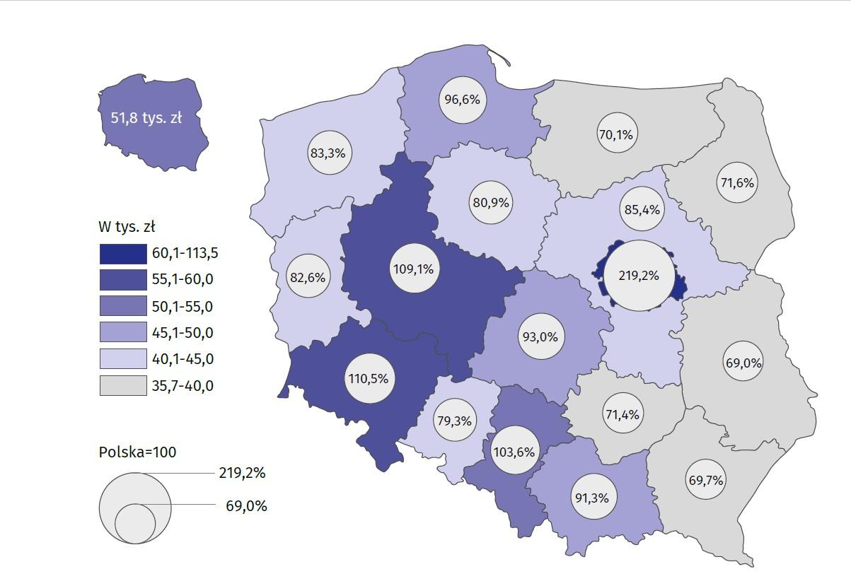 Produkt krajowy brutto na 1 mieszkańca według regionów w 2017 r. (źródło: GUS)