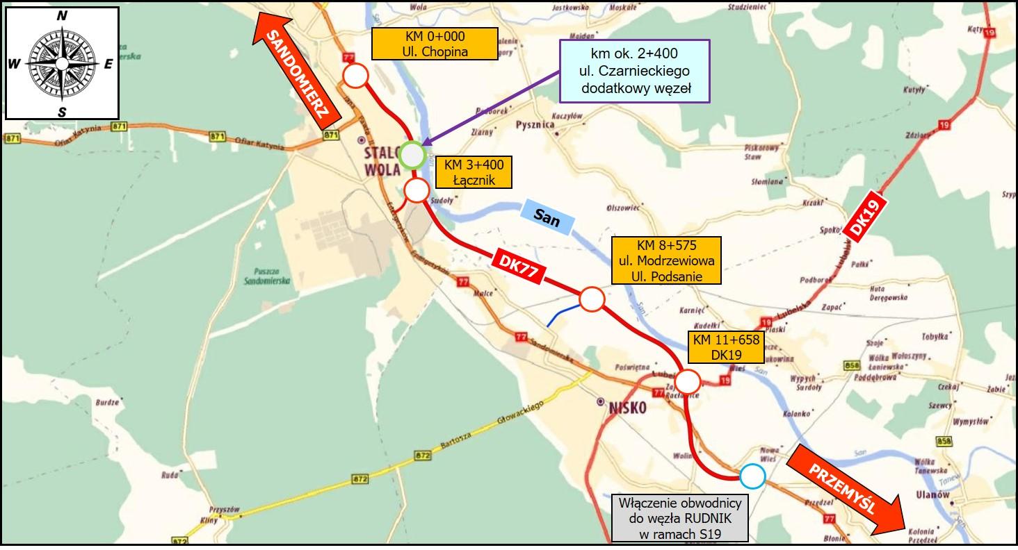 Plan sytuacyjny obwodnicy Stalowej Woli i Niska (fot. GDDKiA)