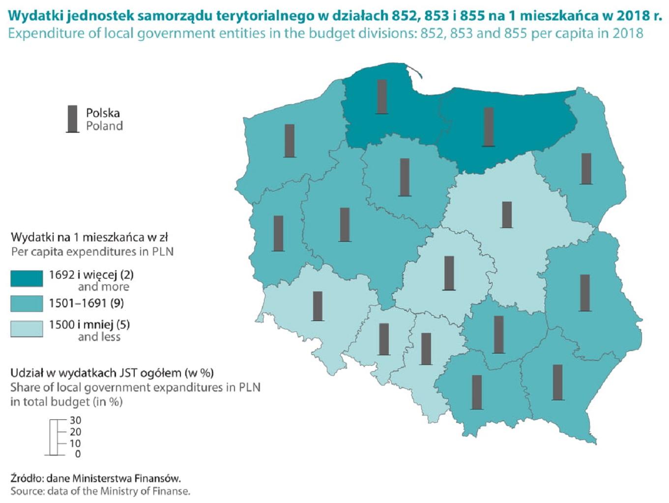 """Wykres z publikacji pt. """"Pomoc społeczna i opieka nad dzieckiem i rodziną w 2018 roku""""."""