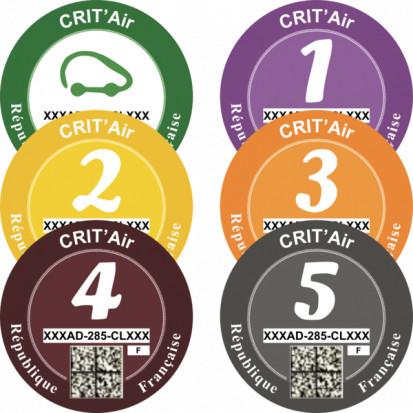 Francuska winieta Crit'Air (plakietka dla pyłu i tlenku azotu) (fot. green-zones.eu)