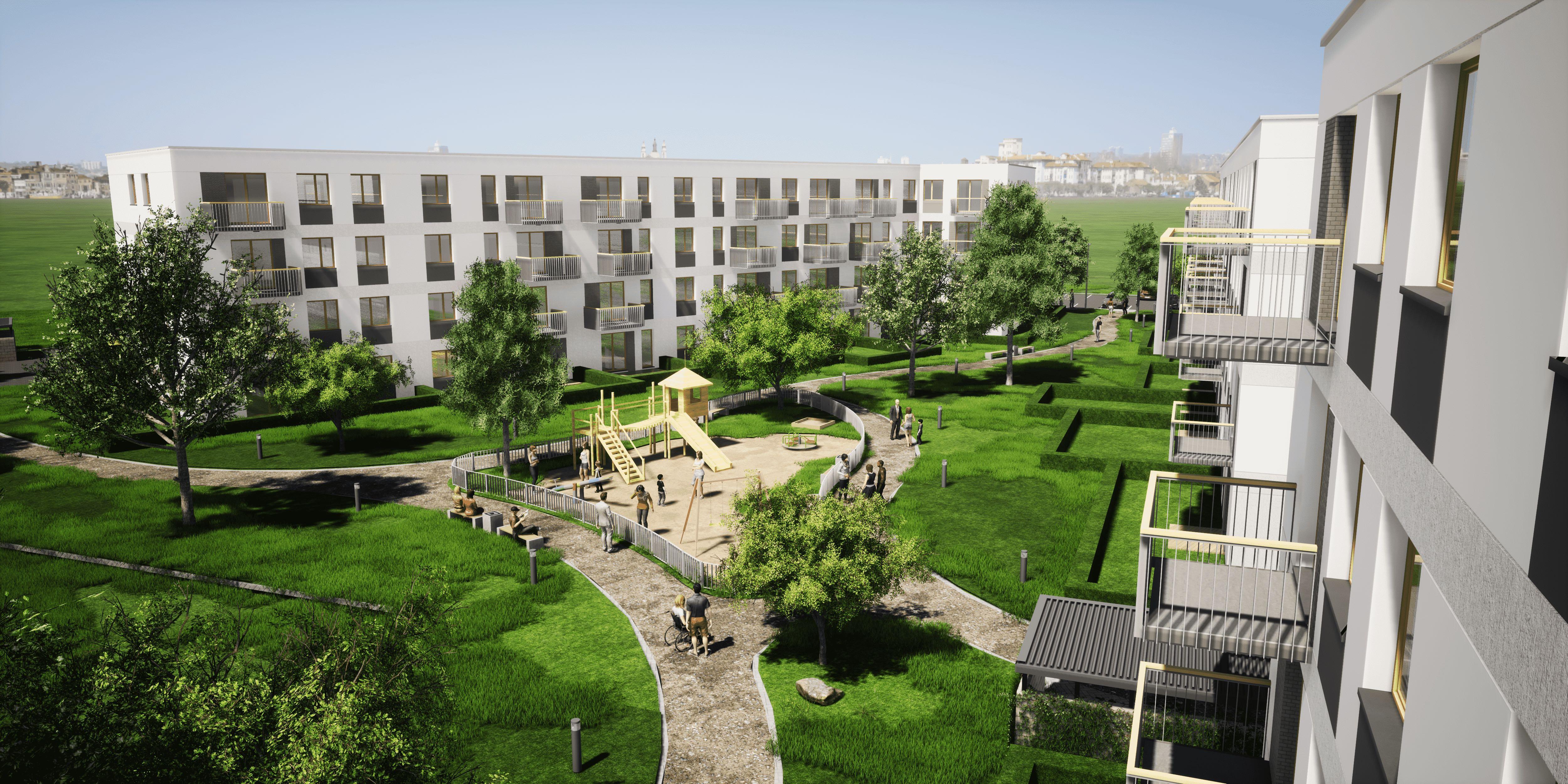 Wizualizacja osiedla przy ul. Paderewskiego w Ołwie (fot. MH Architekci)