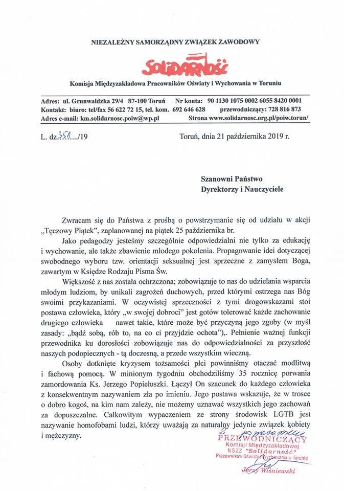 List Jerzego Wiśniewskiego do nauczycieli (Źródło: Facebook)