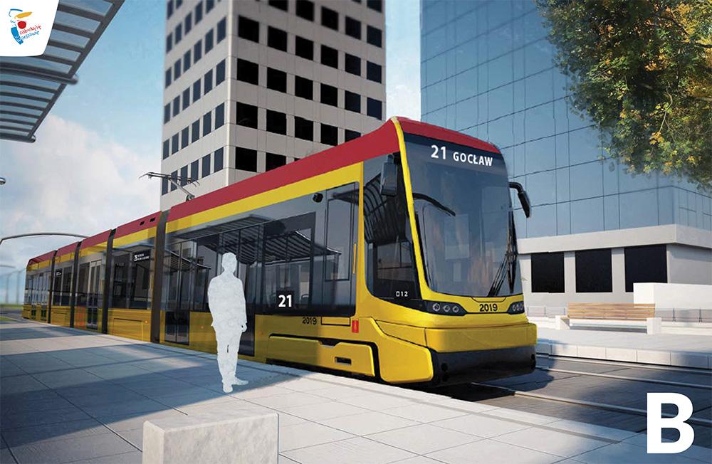 Wariant B przodu nowego tramwaju w Warszawie (fot. Hyundai Rotem UM st. Warszawy)