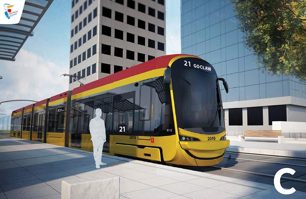 Wariant C przodu nowego tramwaju w Warszawie (fot. Hyundai Rotem UM st. Warszawy)