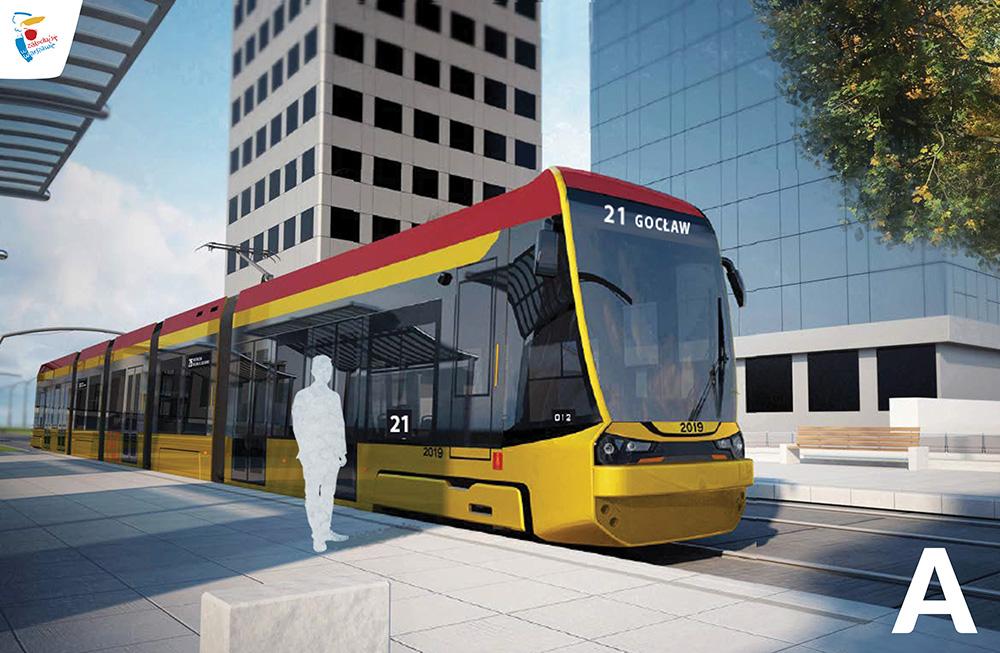Wariant A przodu nowego tramwaju w Warszawie (fot. Hyundai Rotem UM st. Warszawy)