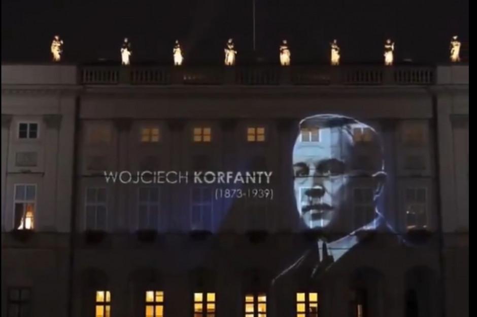 Na fasadzie Pałacu Prezydenckiego wyświetlono wizerunek Wojciecha Korfantego