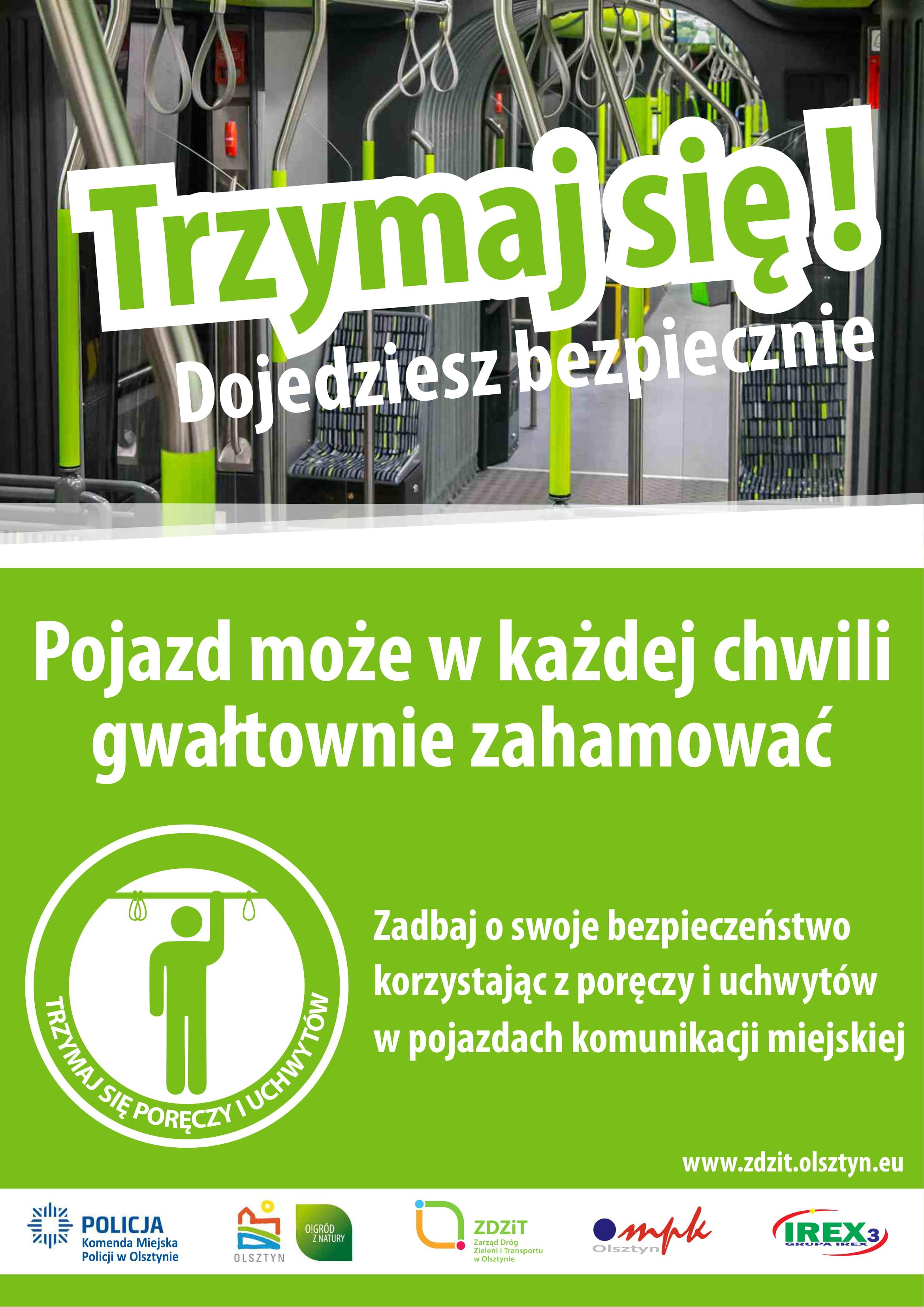 Obowiązek trzymania się podczas jazdy poręczy lub uchwytów jest wpisany w regulamin ZDZiT w Olsztynie (fot. KMP Olsztyn)