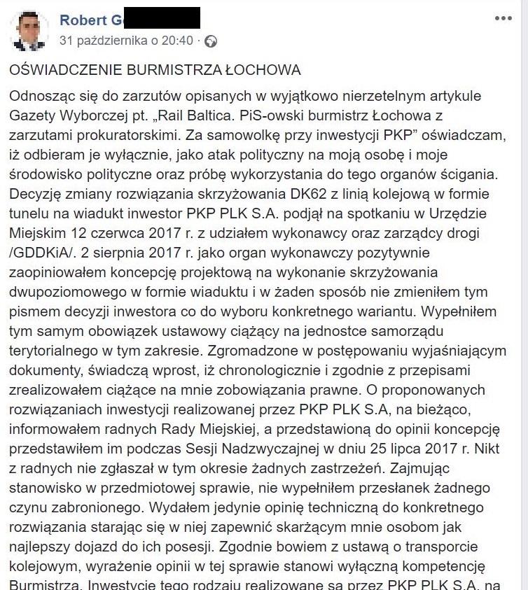 Fragment oświadczenia burmistrza Łochowa(źródło: facebook)