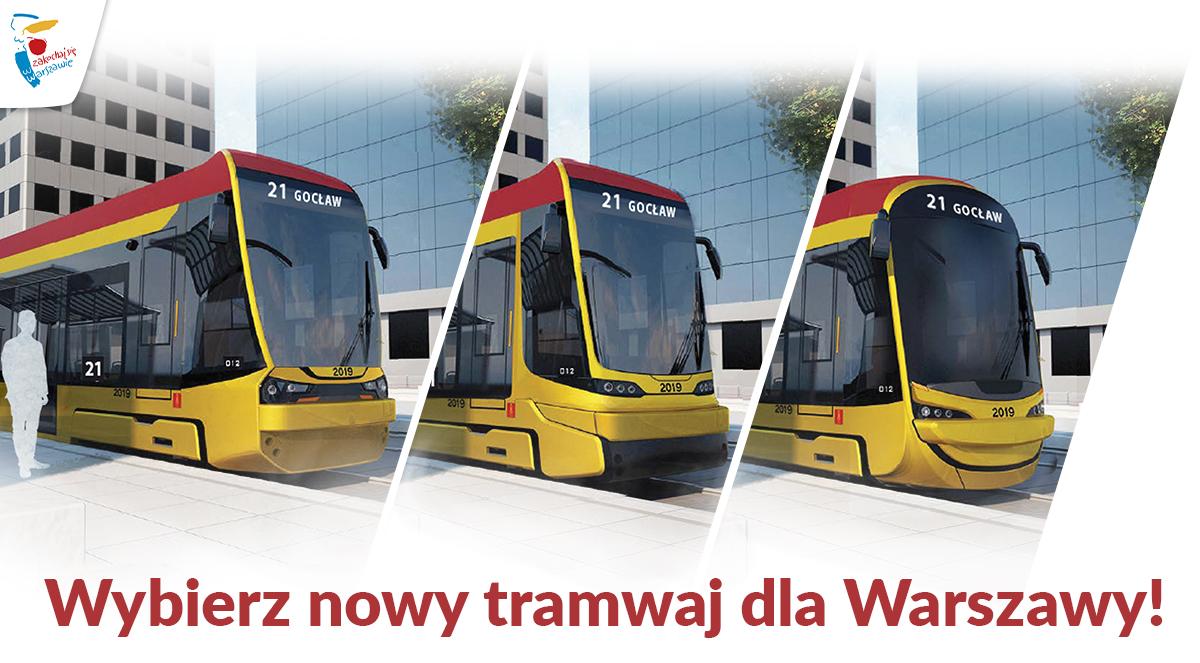 Trzy warianty przodu nowego tramwaju w Warszawie (fot. Hyundai Rotem UM st. Warszawy)
