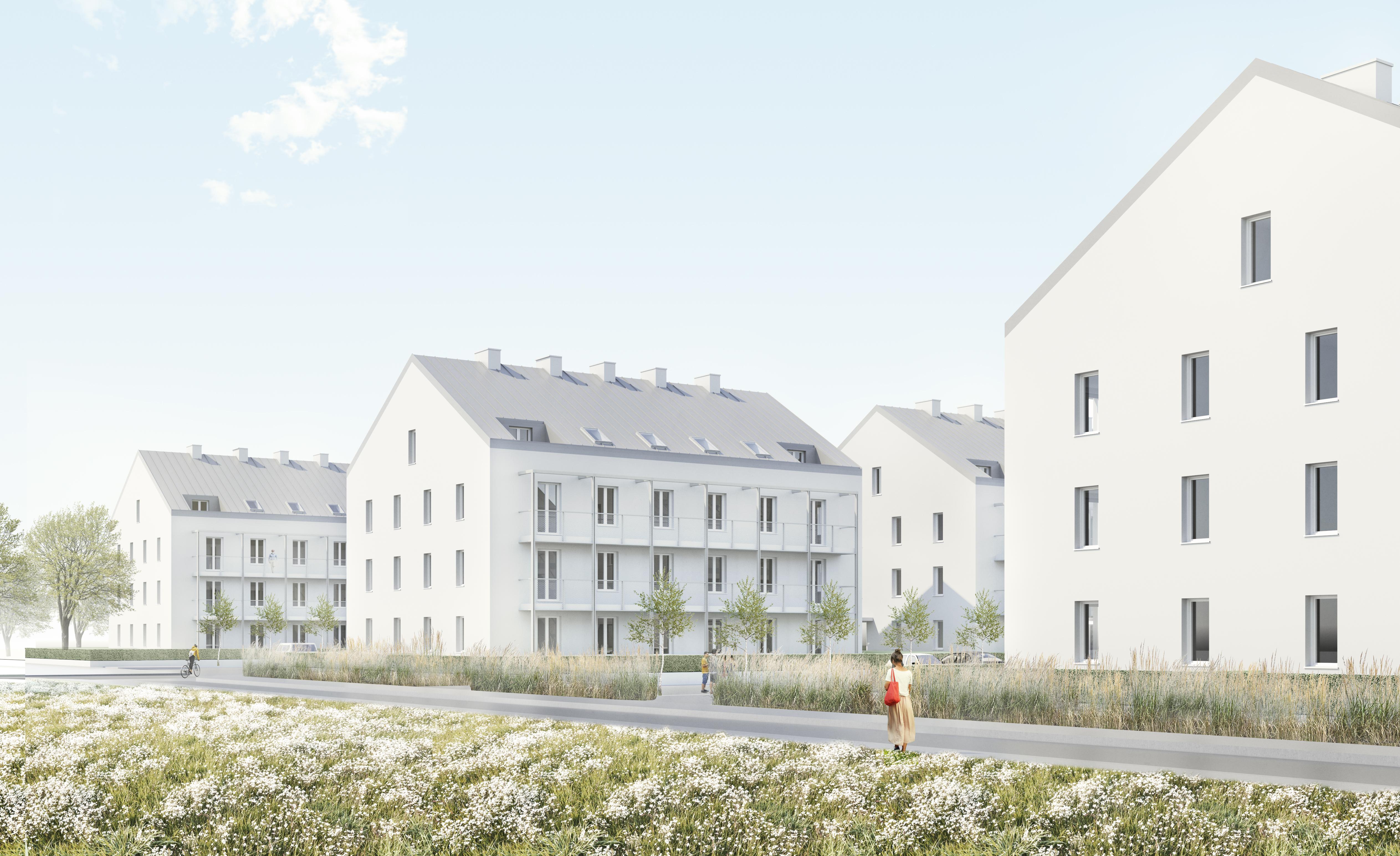 Mieszkanie Plus na Lubelszczyźnie cieszy się dużym zainteresowaniem. W Zamościu na niespełna hektarowej działce powstanie osiedle z sześcioma, trzypiętrowymi blokami, które pomieści 96 mieszkań od jedno- do czteropokojowych. (Ilustracja: mieszkanieplus.gov.pl)