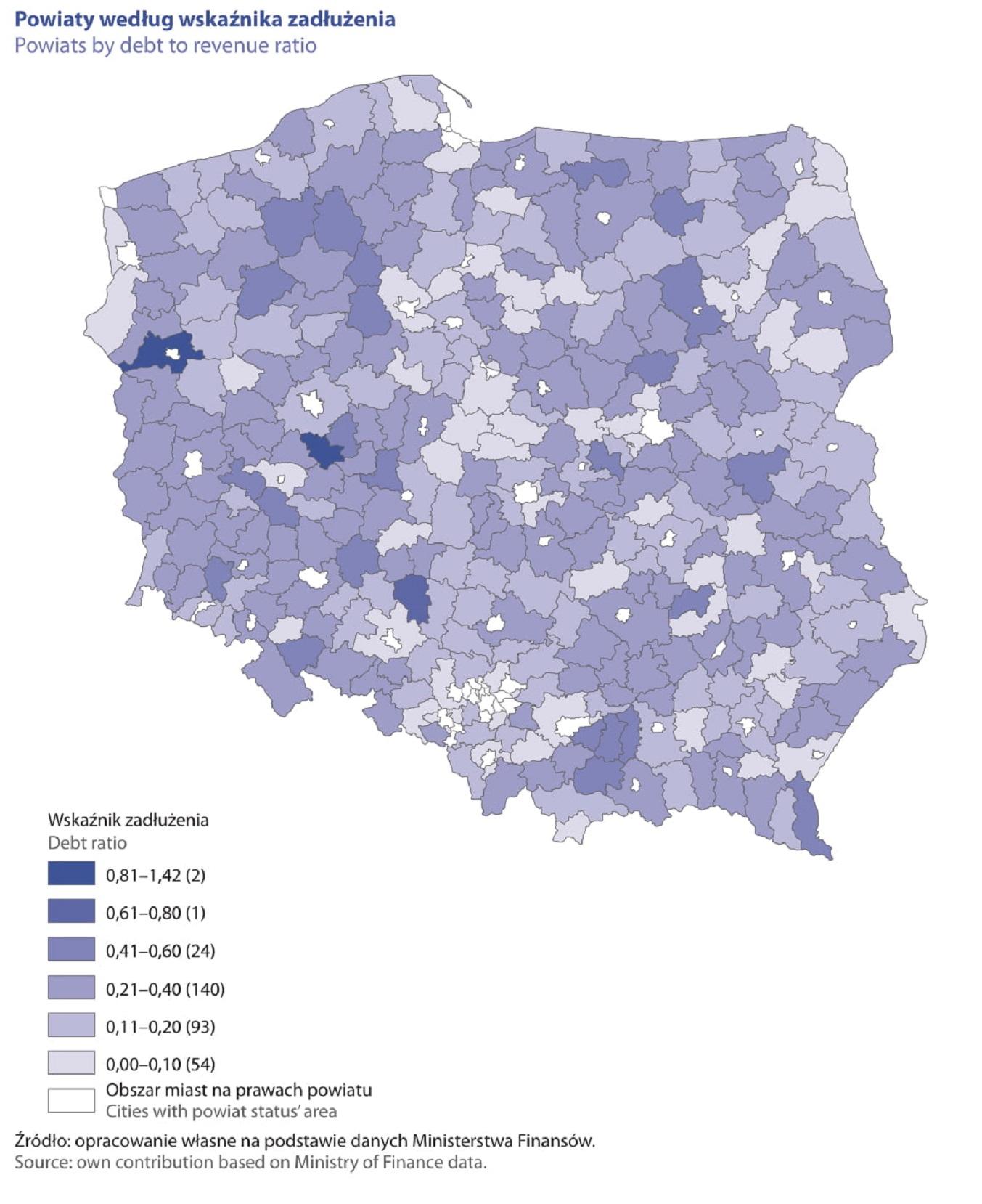 Powiaty według wskaźnika zadłużenia (fot. raport GUS)