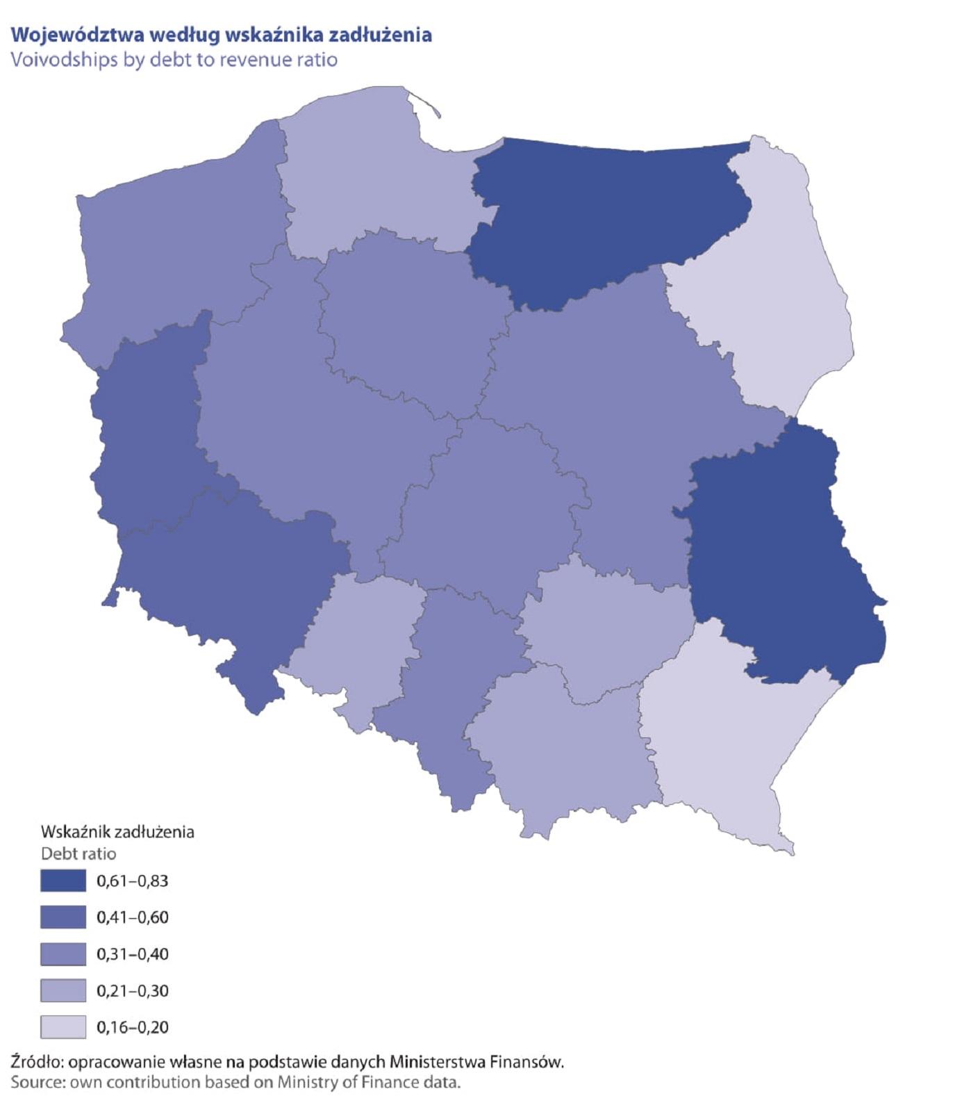 Województwa według wskaźnika zadłużenia (fot. raport GUS)