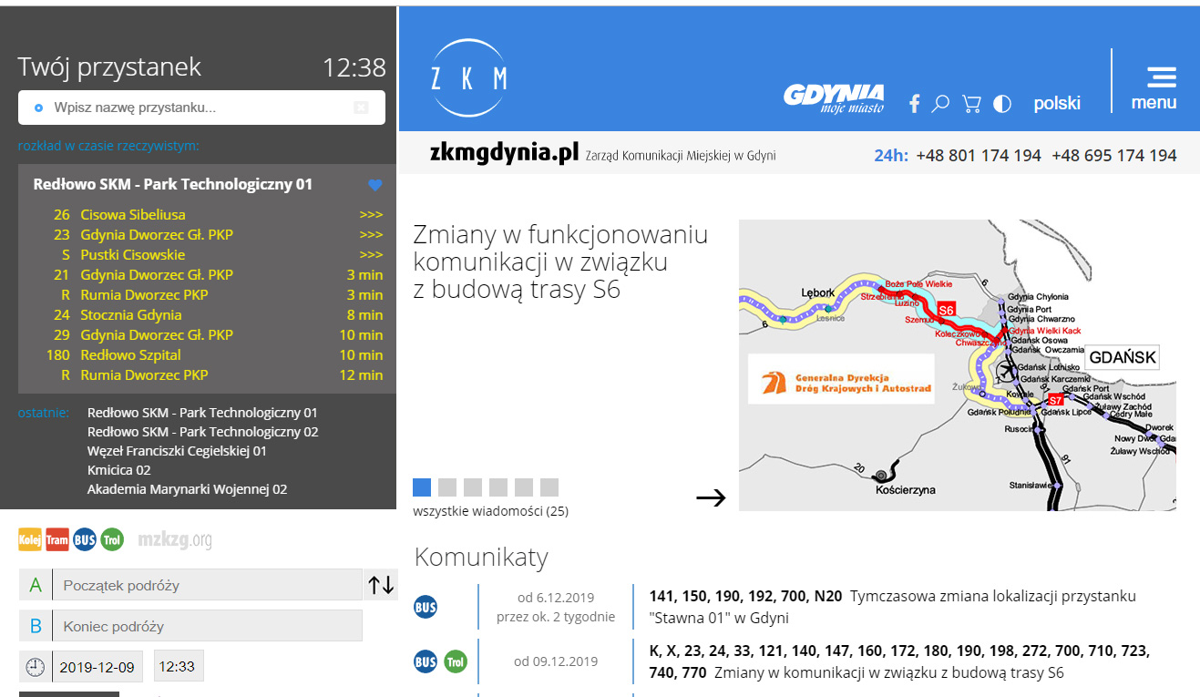 Dzięki wirtualnej tablicy, podróżujący komunikacją miejską mogą w czasie rzeczywistym śledzić czas przyjazdu autobusu (fot. UMG)