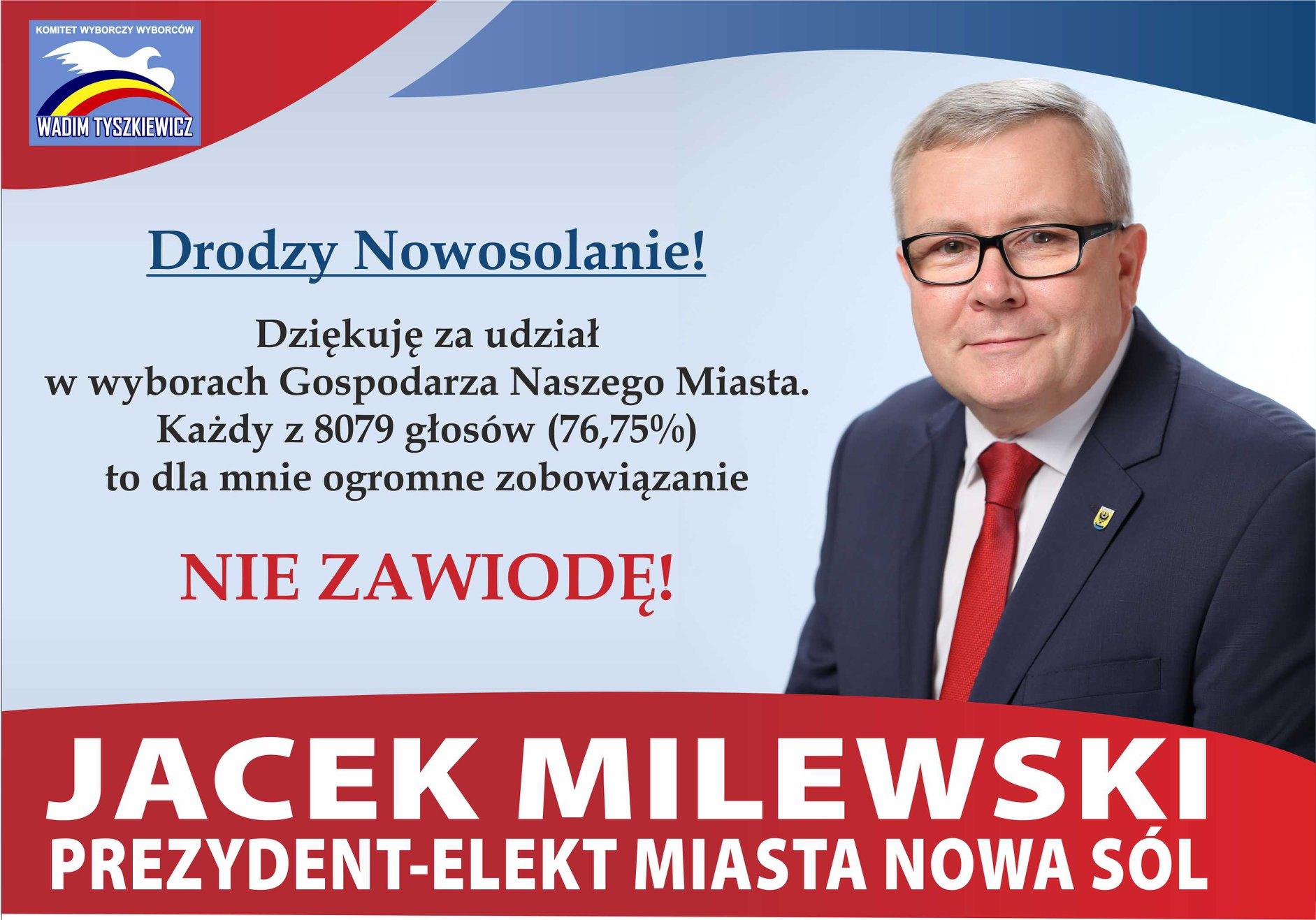 Jacek Milewski podziękował wszystkim wyborcom za pośrednictwem mediów społecznościowych (Fot. Jacek Milewski Facebook)
