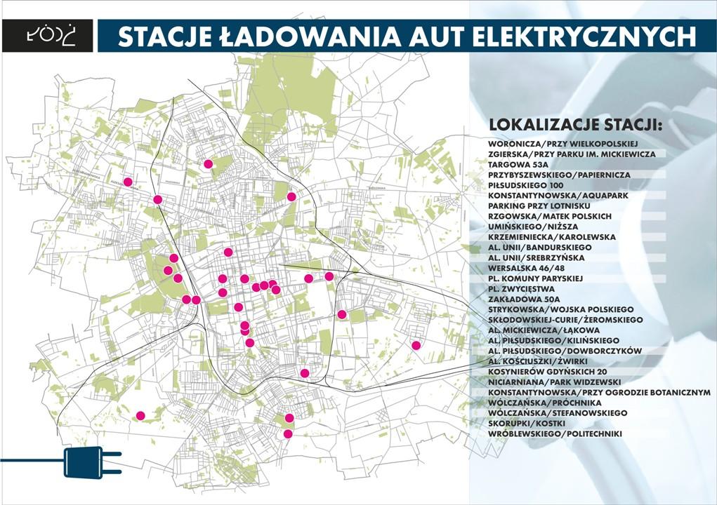 Mapa planowanych stacji ładowania w Łodzi (fot. UM Łódź)