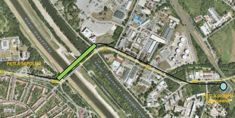 Projektowane nowe mosty Chrobrego, na zielono. Czarna linia, to planowana linia tramwajowa (fot. Wrocławskie Inwestycje)