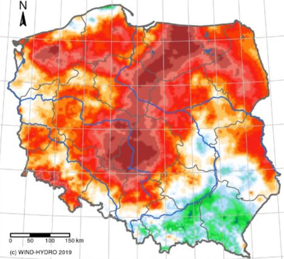 Czerwone obszary na mapie to miejsca występowania suszy w styczniu 2020 r. (wodypolskie.pl)