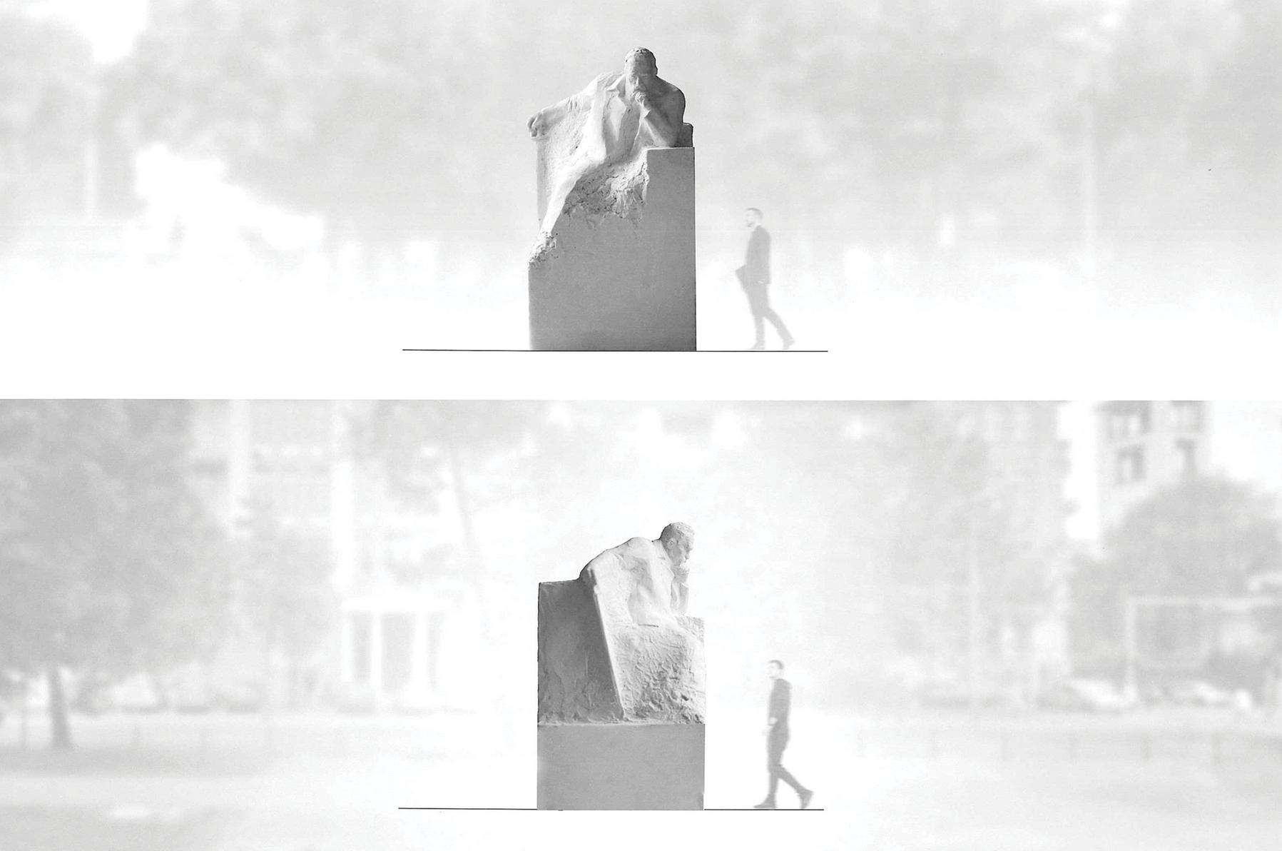 Postać marszałka wyłania się z monolitycznego bloku szwedzkiego granitu.Jego poza sugeruje, że mamy do czynienia z osobą dynamiczną, gotową w każdej chwili podjąć działanie (fot. poznan.pl)
