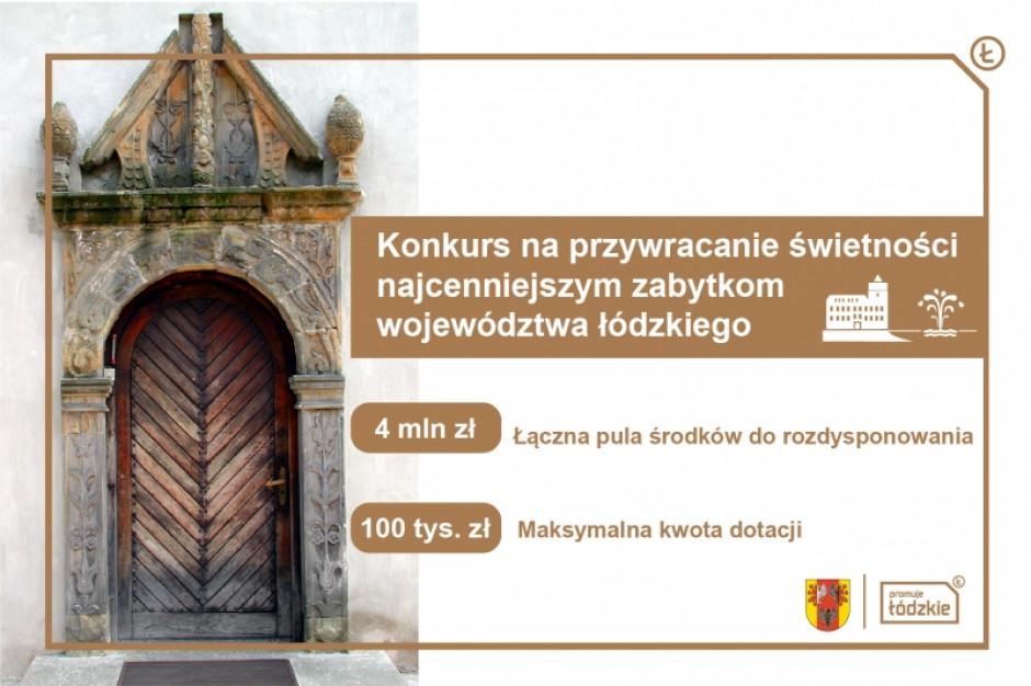 Łódzkie: 4 mln zł z budżetu województwa na renowację zabytków