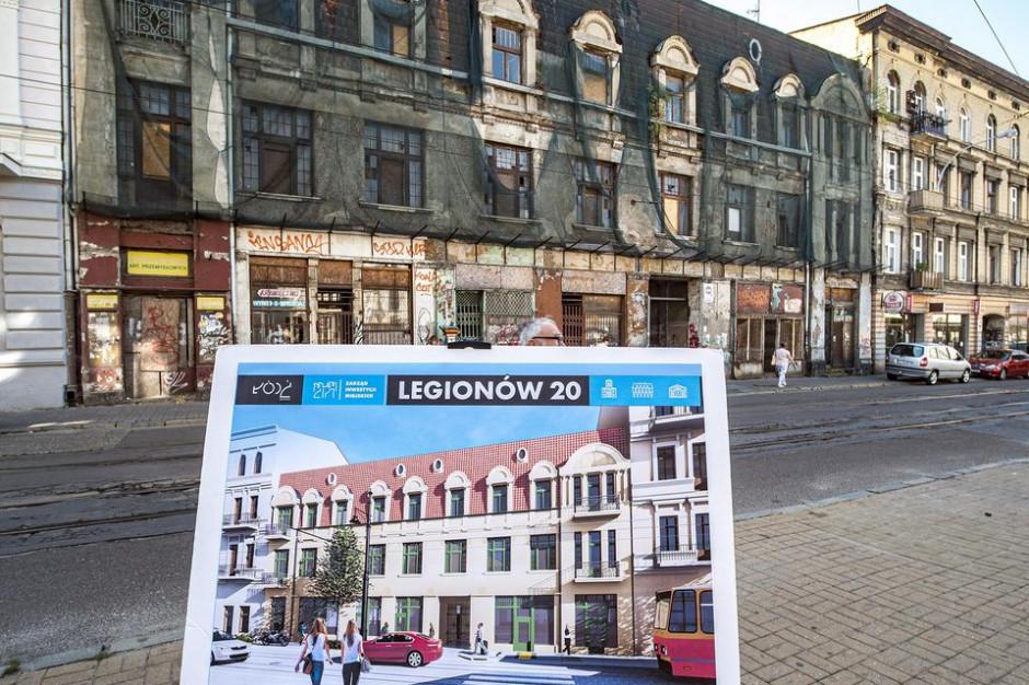 Obecna kamienica przy ul. Legionów 20 oraz jej wizualizacja po przebudowie (fot. UM Łódź/Stefan Brajter)