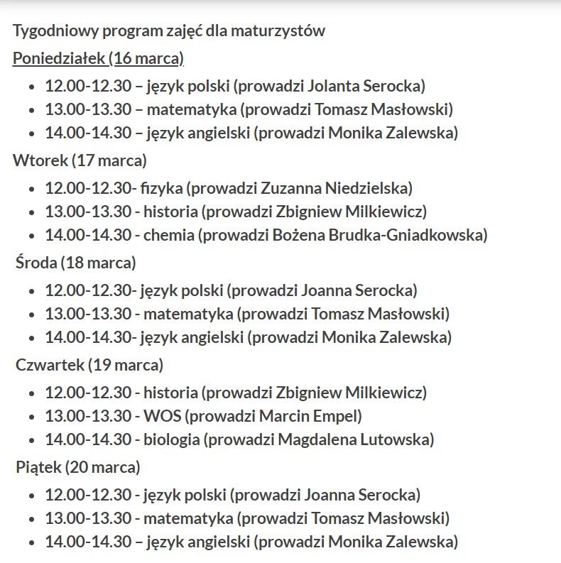 Program zajęć dla maturzystów. Źródło: Urząd Marszałkowski Województwa Kujawsko-Pomorskiego.