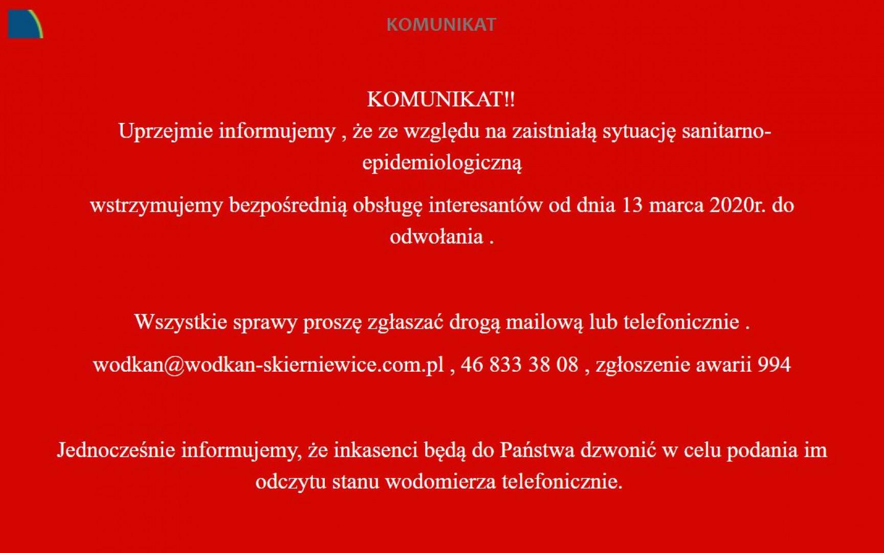 Komunikat WOD-KAN Skierniewice