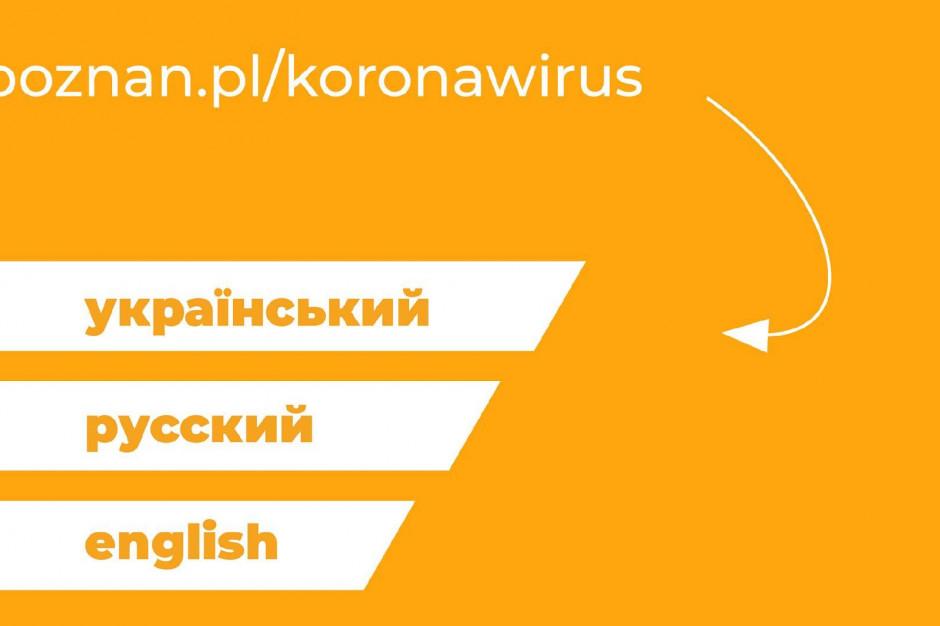 Poznań informuje o koronawirusie po angielsku, rosyjsku i ukraińsku