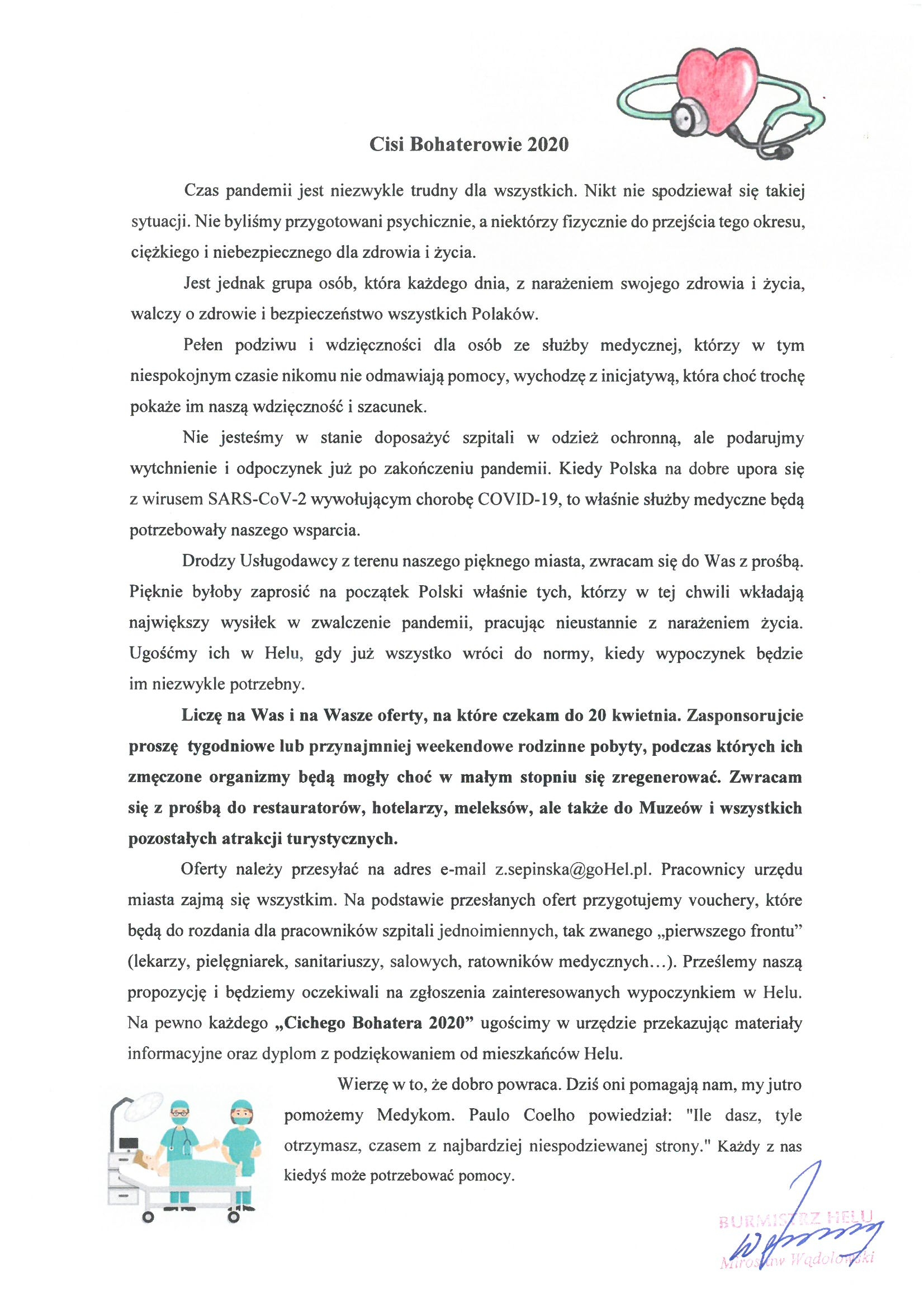 Pismo burmistrza Helu