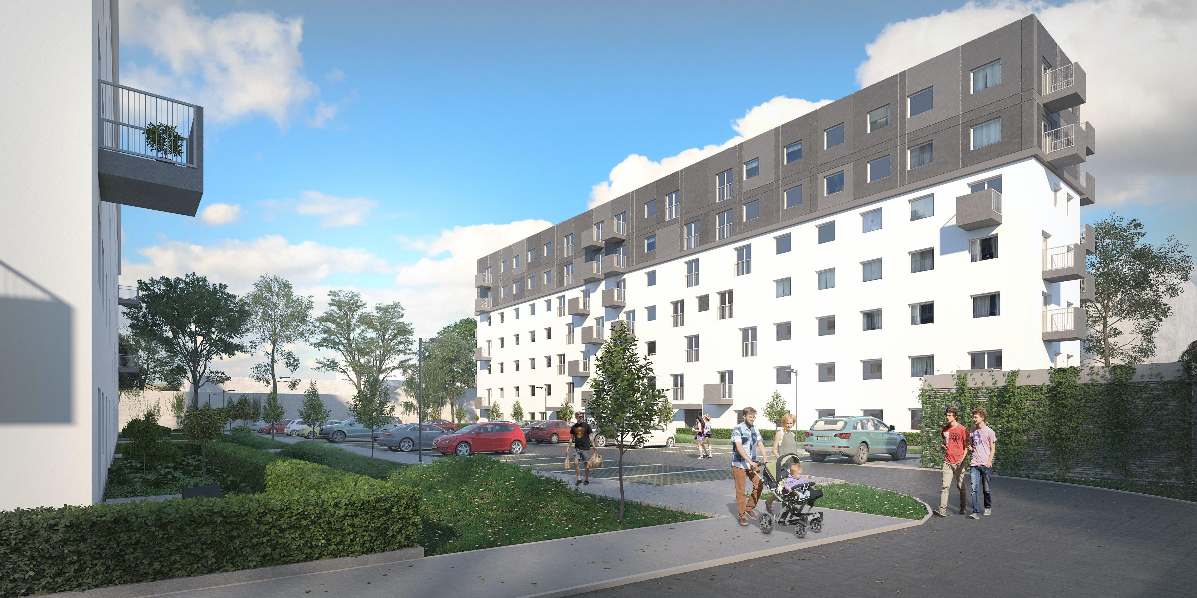Budynki przy ul. Tytoniowej w Radomiu będą utrzymane w biało-szarych barwach (fot. mat. pras. PFR Nieruchomości)