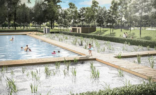 Nowy, ekologiczny basen w części rekreacyjnej będzie miał powierzchnię lustra wody wynoszącą około 1,8 tys. metrów  kwadratowych (fot. mat. prasowe)