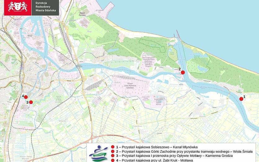 Planowana lokalizacja przystani kajakowych (źródło: UM Gdańsk)