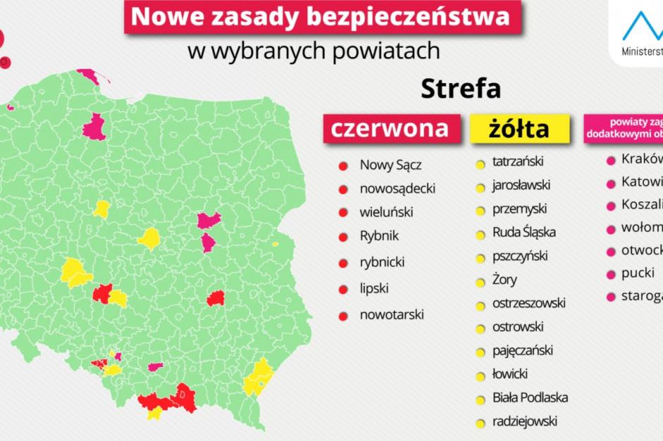 19 powiatów z obostrzeniami. Kraków, Katowice i Koszalin na granicy kategorii żółtej