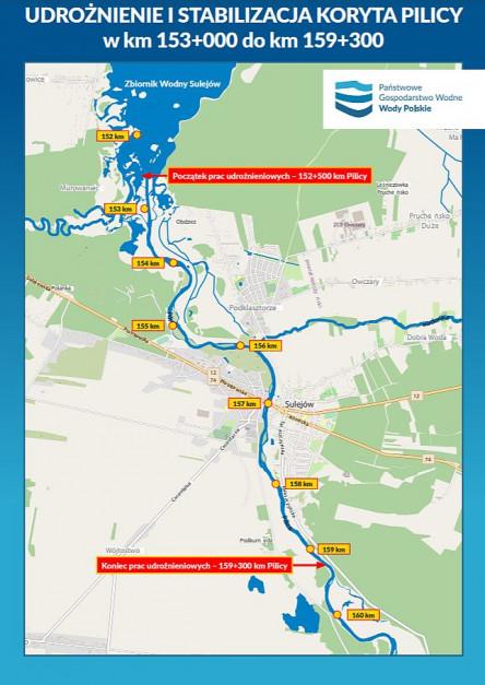 Mapa udrożnienia Pilicy (fot. Wody Polskie)