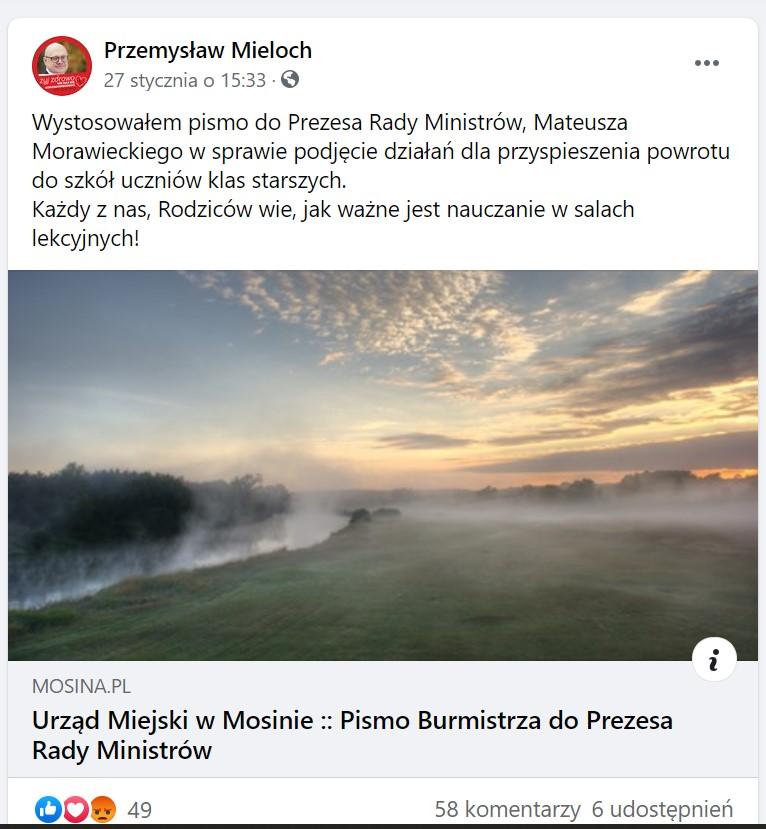 Przemysław Mieloch poinformował o swoim liście w mediach społecznościowych (fot. zrzut ekranu - facebook.com)