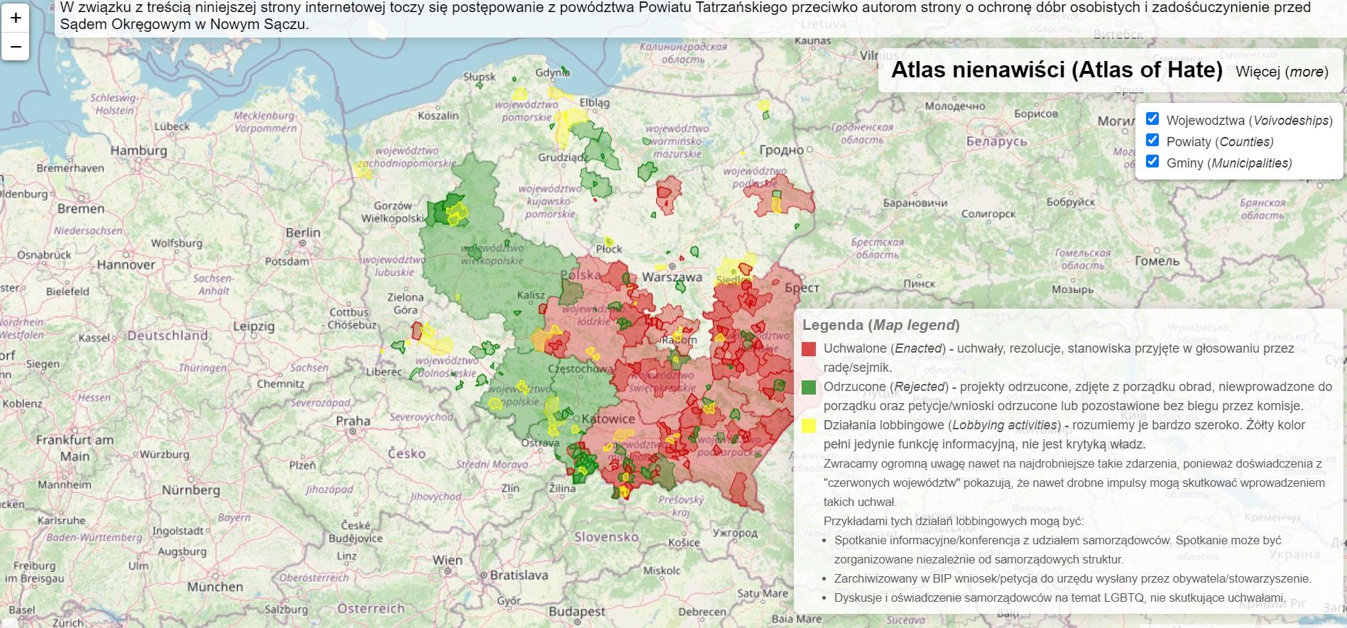 Na mapie zaznaczane są samorządy, które m.in. podjęły uchwały anty-LGBT lub dot. Samorzadowej Karty Praw Rodziny (Fot. atlasnienawisci.pl)