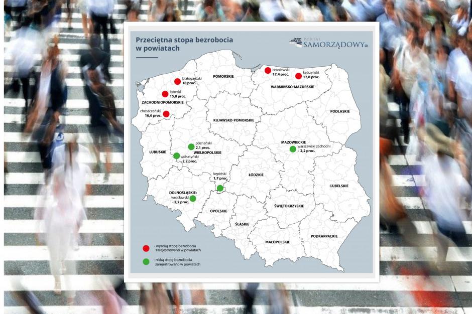 Bezrobocie w powiatach -  gdzie najłatwiej a gdzie najtrudniej o pracę?